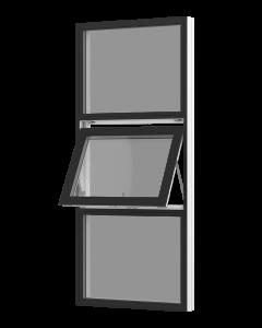 Rationel topstyret vindue med fast felt foroven og forneden. Kan bestilles i træ eller i en vedligeholdelses-fri  træ/alu udgave.  Modellen fås både i en retkantet moderne og klassisk udgave med profilerede karme.    Modellen leveres i en Basic versio